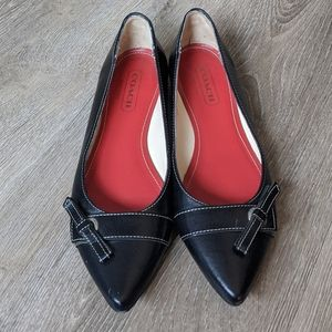 """Coach """"Clarice"""" Pointed Toe Leather Flat"""